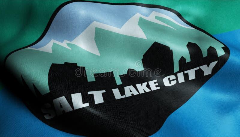 vinkande flagga 3D av den Salt Lake City Closeupsikten vektor illustrationer