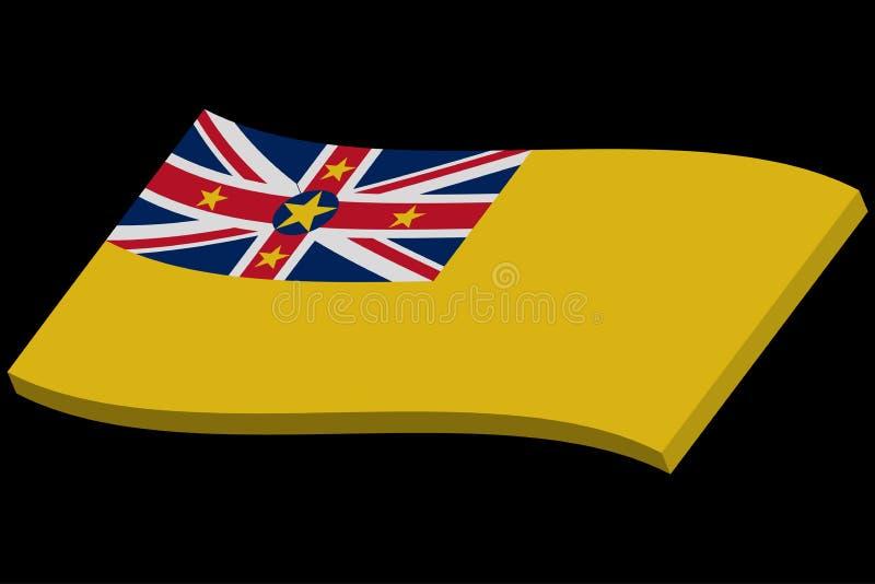 vinkande flagga 3D av Niue ocks? vektor f?r coreldrawillustration royaltyfri illustrationer