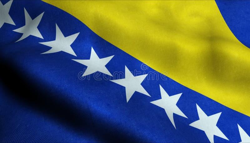 Vinkande flagga för Bosnien i 3D royaltyfri illustrationer