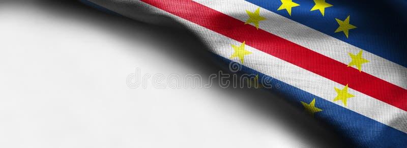 Vinkande flagga för Kap Verde på vit bakgrund - höger bästa hörnflagga royaltyfria foton