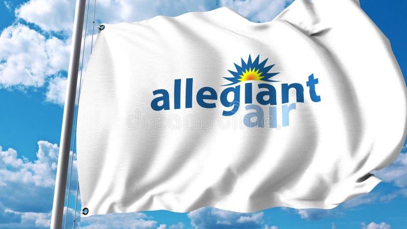 Vinkande flagga med Allegiant luftlogo framförande 3d royaltyfri illustrationer