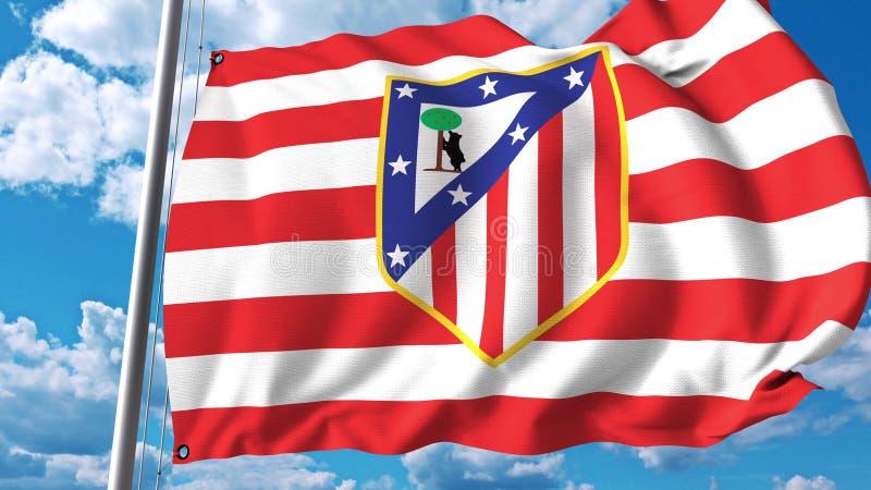 Vinkande flagga med Atletico Madrid fotbollslaglogo Redaktörs- tolkning 3D vektor illustrationer