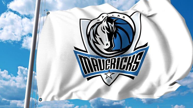 Vinkande flagga med Dallas Mavericks yrkesmässig laglogo Redaktörs- tolkning 3D vektor illustrationer