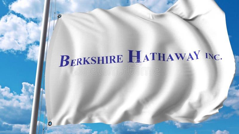 Vinkande flagga med den Berkshire Hathaway logoen Editoial 3D tolkning vektor illustrationer