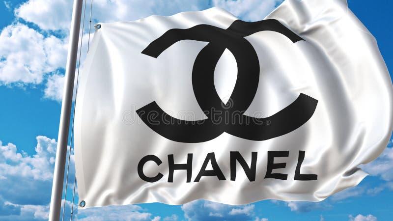 Vinkande flagga med den Chanel logoen mot himmel och moln Redaktörs- tolkning 3D stock illustrationer