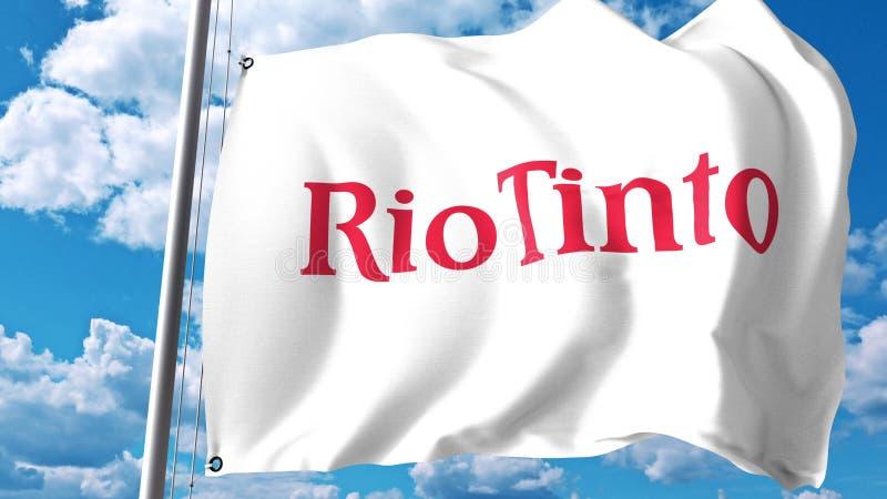 Vinkande flagga med den Rio Tinto Group logoen mot moln och himmel Redaktörs- tolkning 3D royaltyfri illustrationer