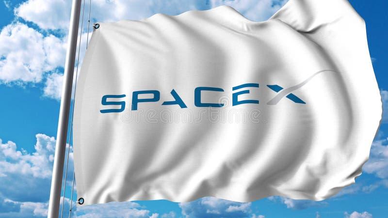 Vinkande flagga med den Spacex logoen Editoial 3D tolkning vektor illustrationer