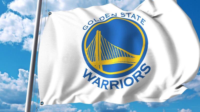 Vinkande flagga med logo för lag för Kalifornienkrigare yrkesmässig Redaktörs- tolkning 3D stock illustrationer