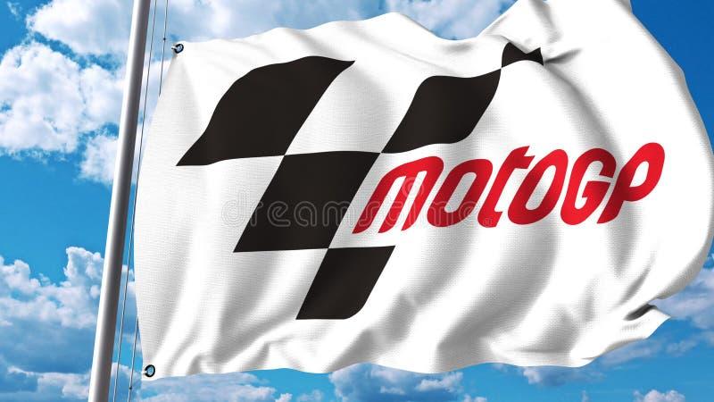 Vinkande flagga med Moto GP-logo Redaktörs- tolkning 3D stock illustrationer
