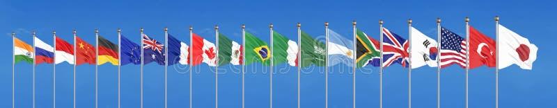Vinkande flaggal?nder av medlemgruppen av tjugo Stor G20 i Japan i 2020 bl? sky f?r bakgrund framf?rande 3d illustration vektor illustrationer