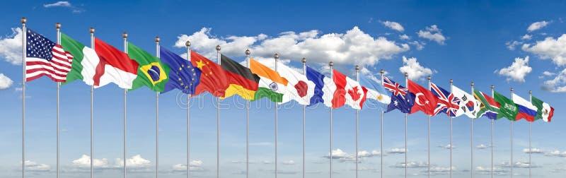 Vinkande flaggal?nder av medlemgruppen av tjugo Stor G20 i Japan i 2020 bl? sky f?r bakgrund framf?rande 3d illustration royaltyfri illustrationer
