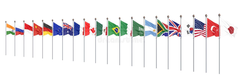 Vinkande flaggal?nder av medlemgruppen av tjugo Stor G20 i Japan i 2020 Isolerat p? vit framf?rande 3d illustration vektor illustrationer