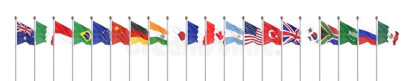 Vinkande flaggal?nder av medlemgruppen av tjugo Stor G20 i Japan i 2020 Isolerat p? vit framf?rande 3d illustration royaltyfri illustrationer