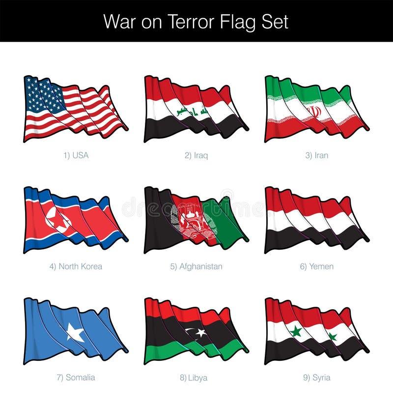 Vinkande flaggauppsättning för krig mot terrorismen stock illustrationer