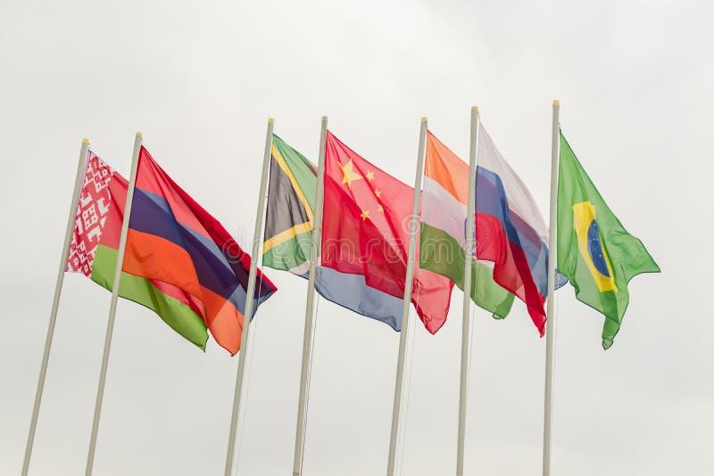 Vinkande flaggor av BRICS-l?nderna mot den bl?a himlen royaltyfri fotografi