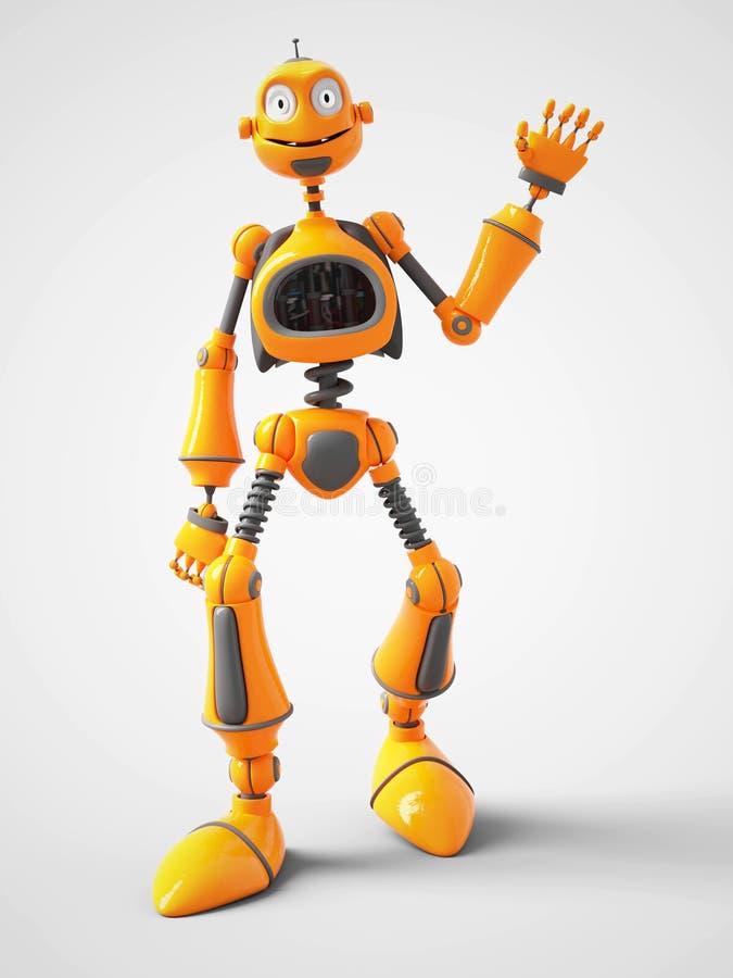Vinkande hälsningar för gul tecknad filmrobot vektor illustrationer