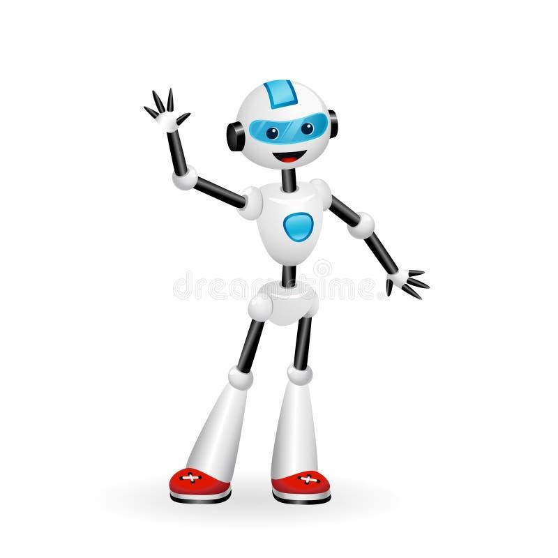 Vinkande hälsningar för gullig robot som isoleras på vit bakgrund royaltyfri illustrationer
