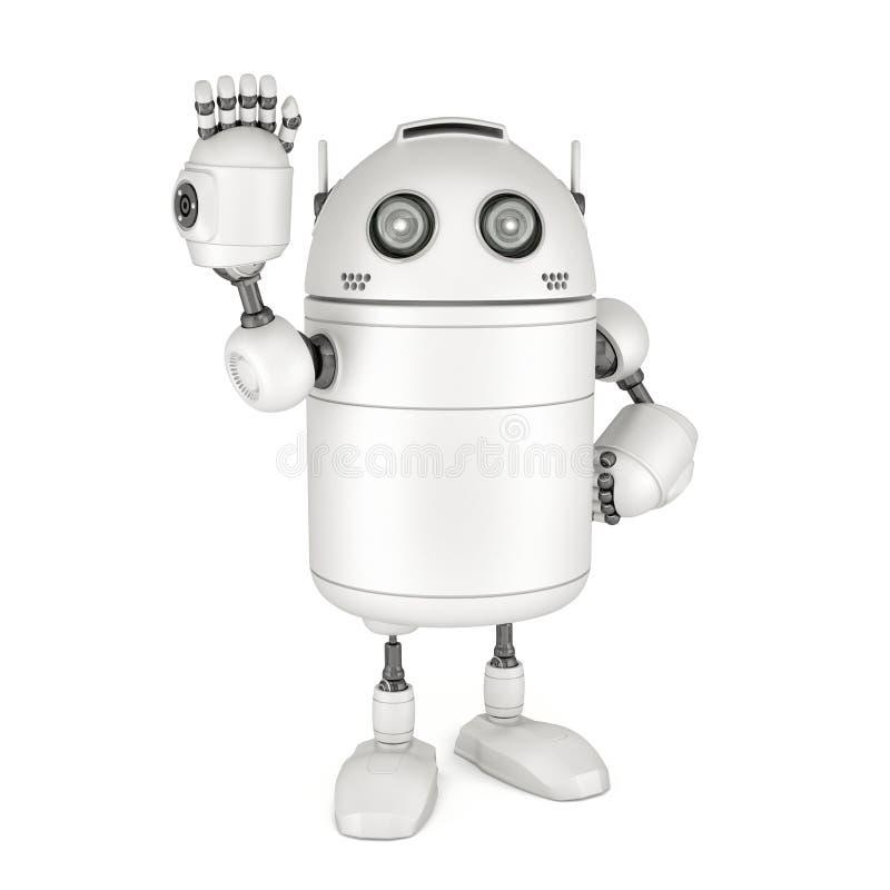 Vinkande hälsningar för vänlig robot stock illustrationer