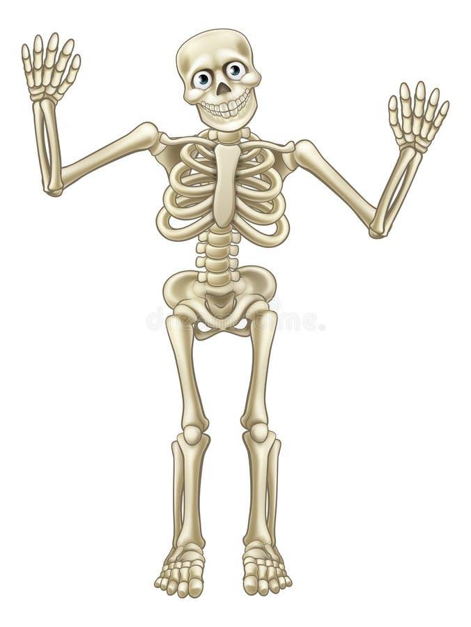 Vinkande händer för skelett- tecknad film vektor illustrationer