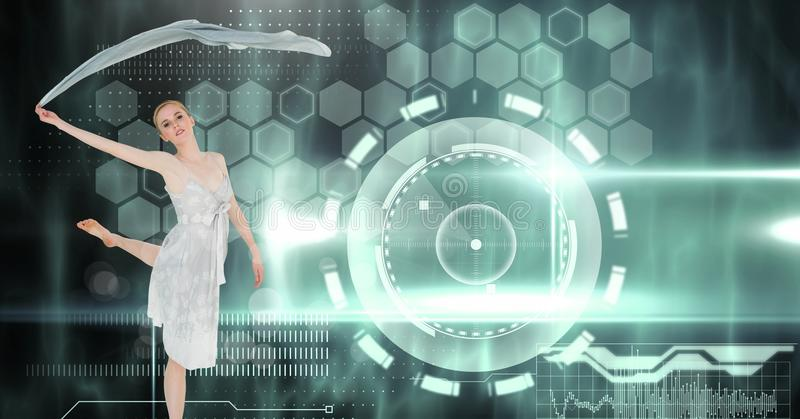 Vinkande halsduk för dansare med manöverenheten för digital teknologi vektor illustrationer