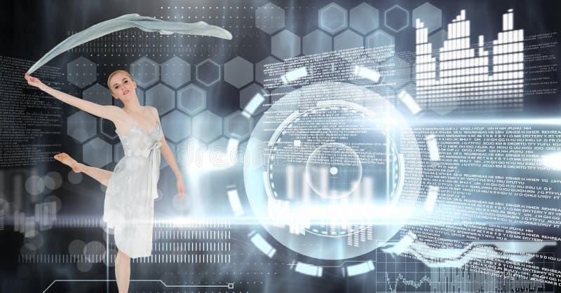 Vinkande halsduk för dansare med manöverenheten för digital teknologi stock illustrationer