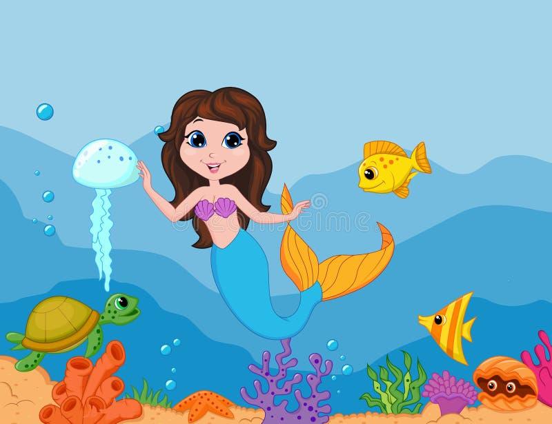 Vinkande hand för gullig sjöjungfrutecknad film vektor illustrationer
