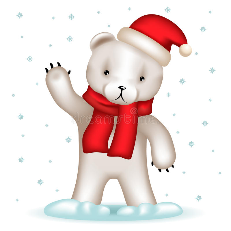 Vinkande hand för Toy Bear Cub Santa Claus hatthälsning stock illustrationer