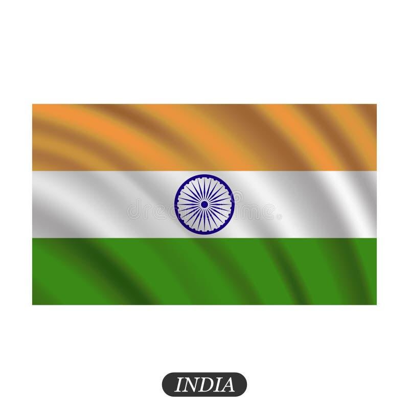 Vinkande Indien flagga på en vit bakgrund också vektor för coreldrawillustration stock illustrationer