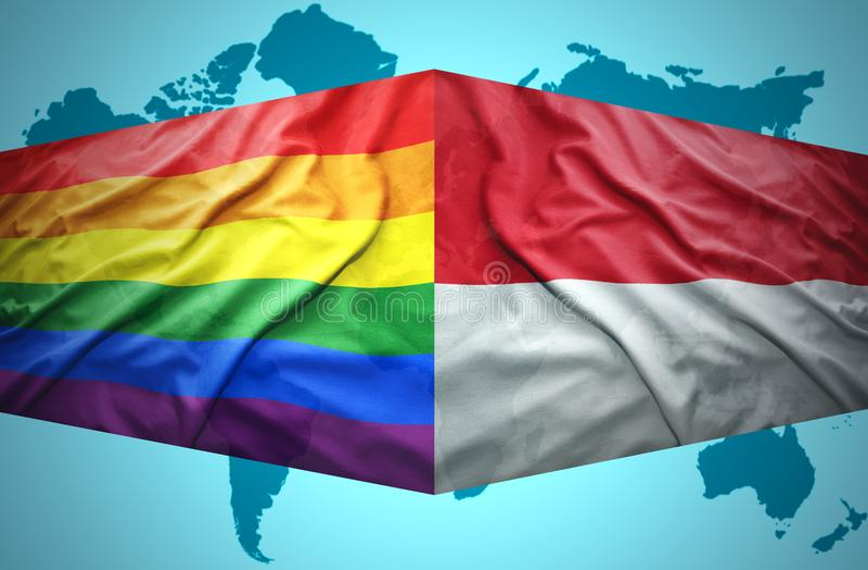 Vinkande indones- och bögflaggor vektor illustrationer