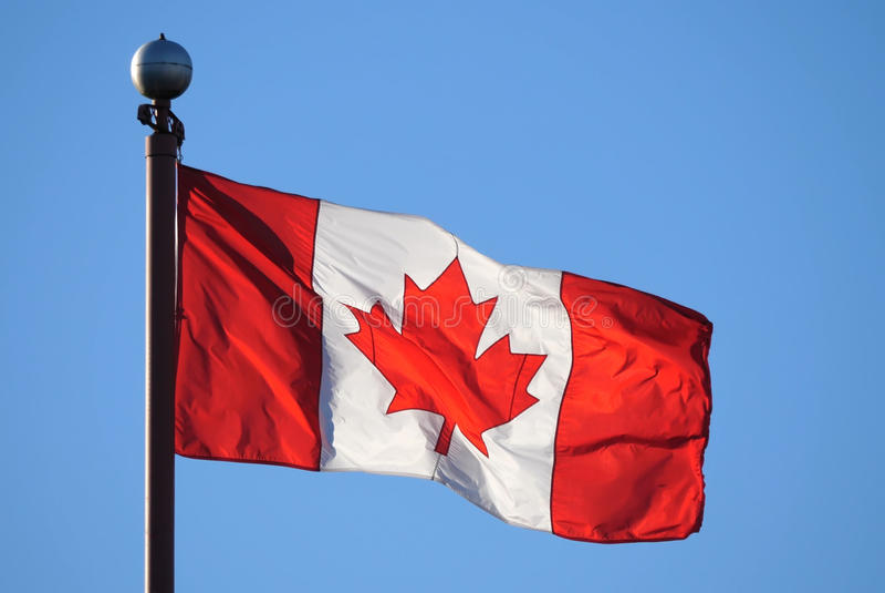 Vinkande kanadensisk flagga mot blå himmel royaltyfri bild