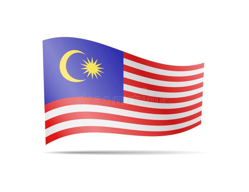 Vinkande Malaysia flagga i vinden Flagga p? den vita vektorillustrationen stock illustrationer