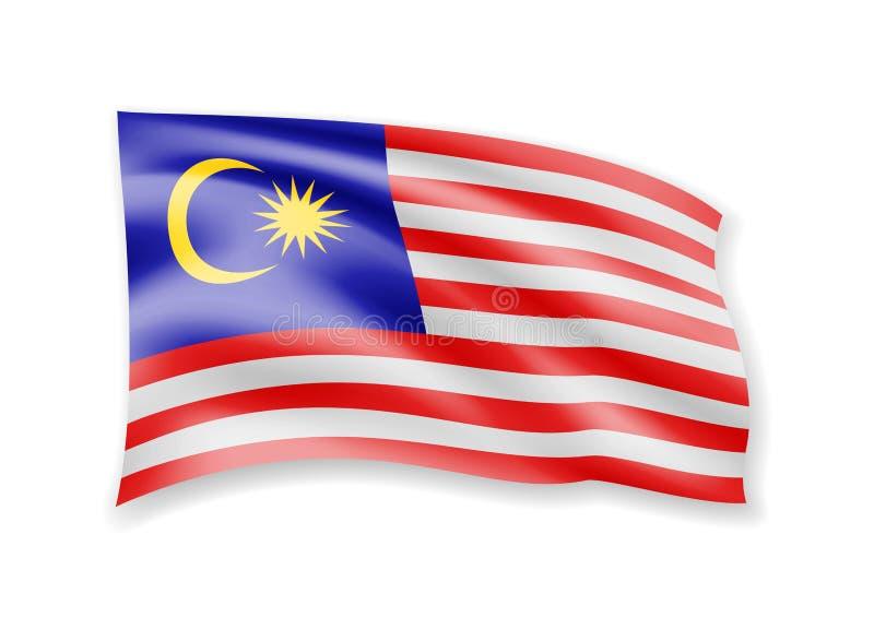 Vinkande Malaysia flagga p vektor illustrationer