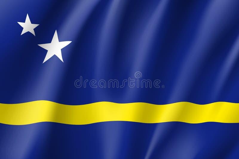 Vinkande nationsflagga av den Curacao ?n vektor illustrationer