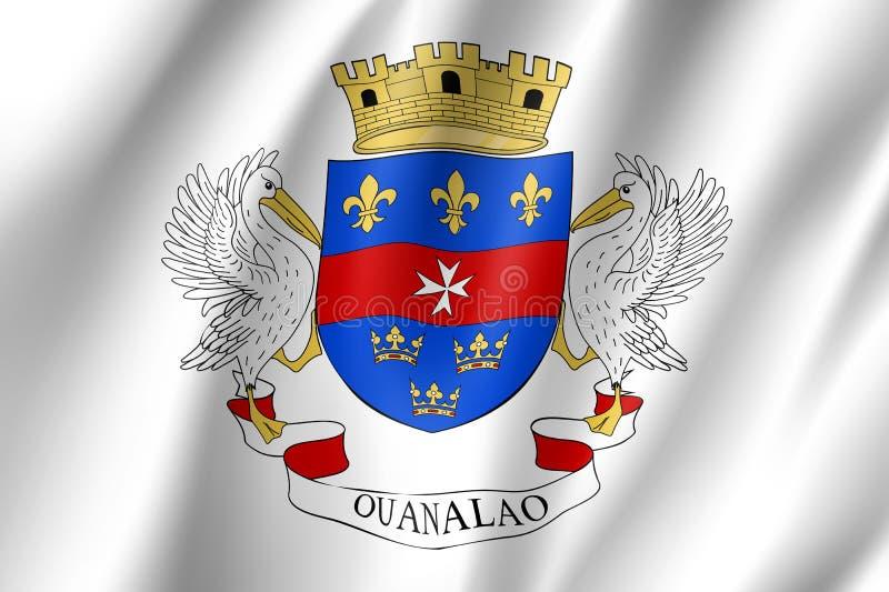 Vinkande nationsflagga av den St Barthelemy ön vektor illustrationer