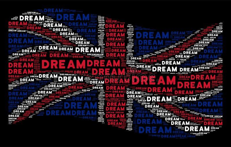Vinkande Storbritannien flaggamodell av dröm- ord royaltyfri illustrationer