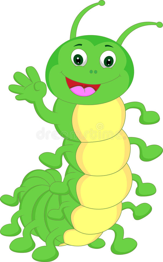 Vinkande tecknad film för gullig larv stock illustrationer