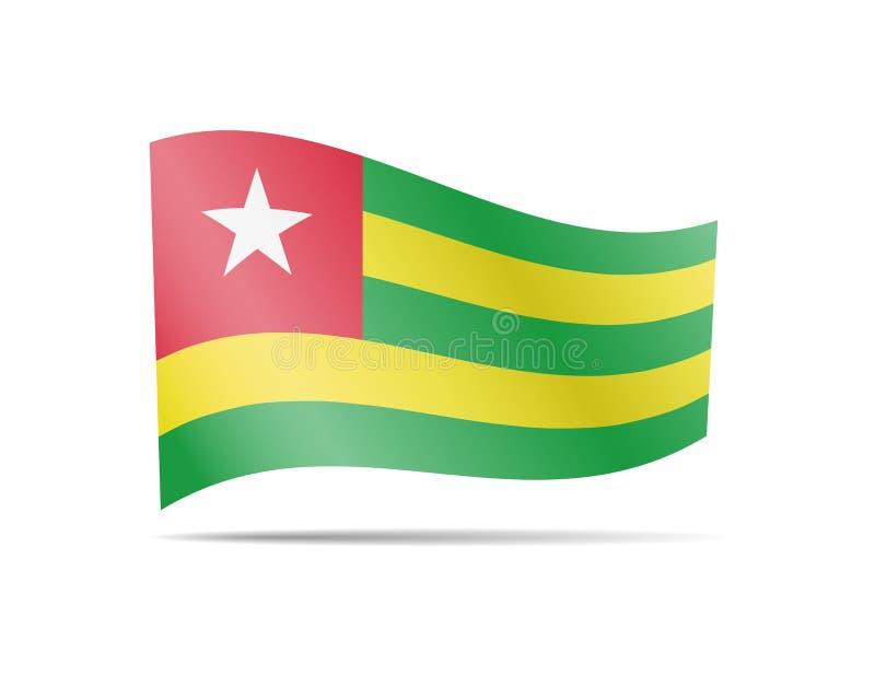 Vinkande Togo flagga i vinden Flagga p? den vita vektorillustrationen royaltyfri illustrationer