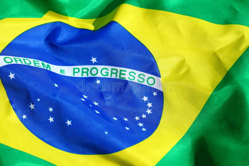 Vinkande tygBrasilien flagga royaltyfri bild