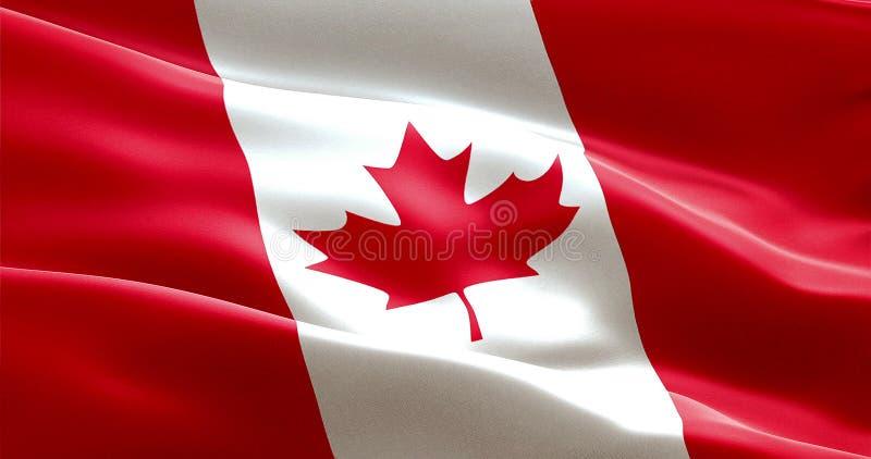 Vinkande tygtextur av flaggan av Kanada vektor illustrationer