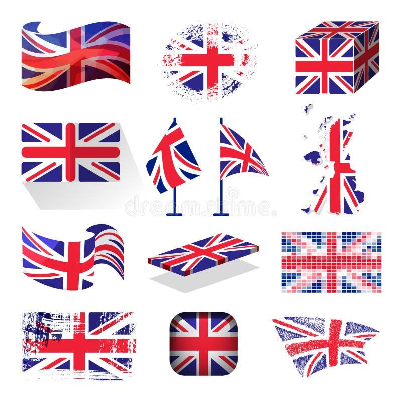 Vinkande UK-flaggaEngland brittiskt patriotiskt nationellt symbol av illustrationen för Storbritannien den olika stilvektor vektor illustrationer