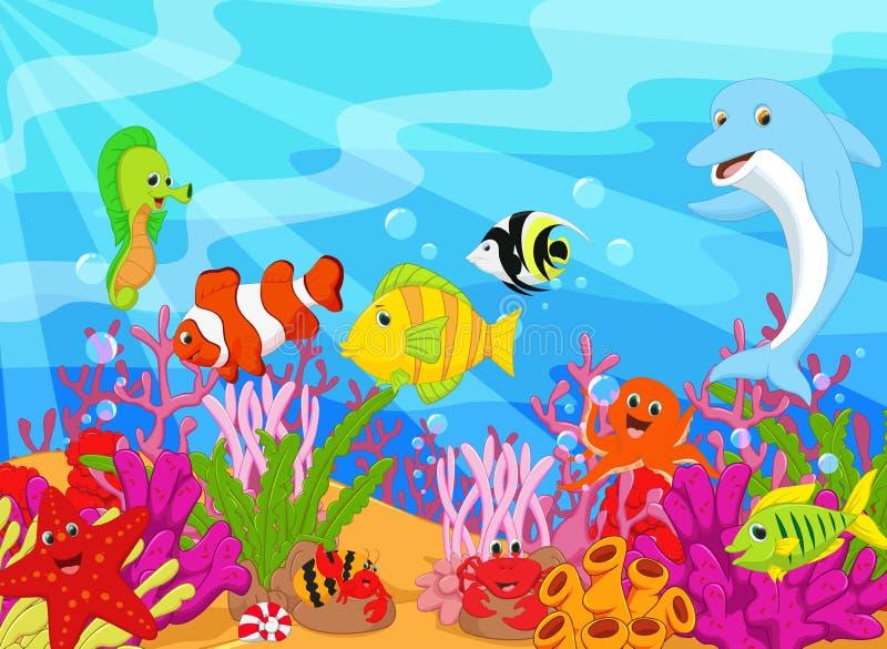 Vinkande uppsättning för liv för tecknad filmdelfin undervattens- royaltyfri illustrationer