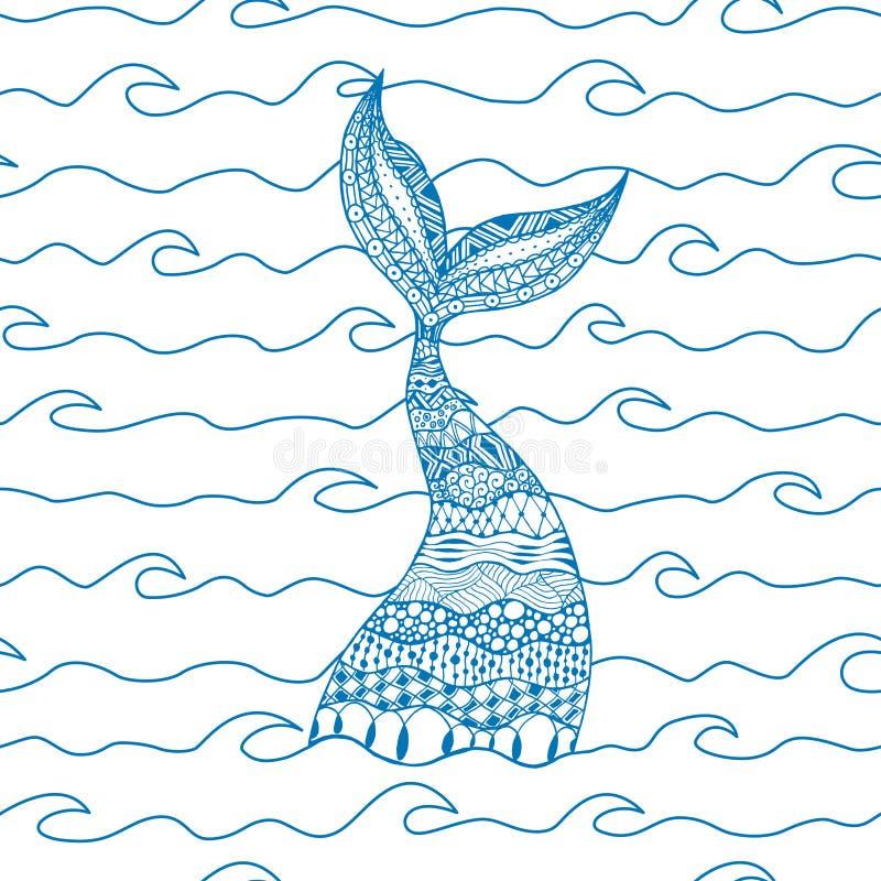 Vinkar den sömlösa modellen för vektorn av blålinjenhavet med sjöjungfrun vektor illustrationer