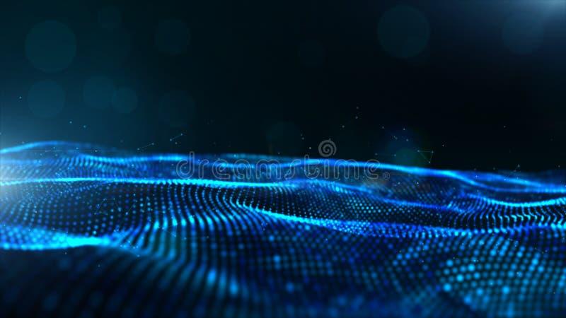 Vinkar digitala partiklar för abstrakt blå färg med bokeh och ljus bakgrund stock illustrationer