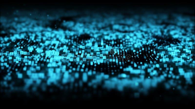 Vinkar digitala partiklar f?r abstrakt bl? f?rg med damm och nummerbakgrund royaltyfri illustrationer