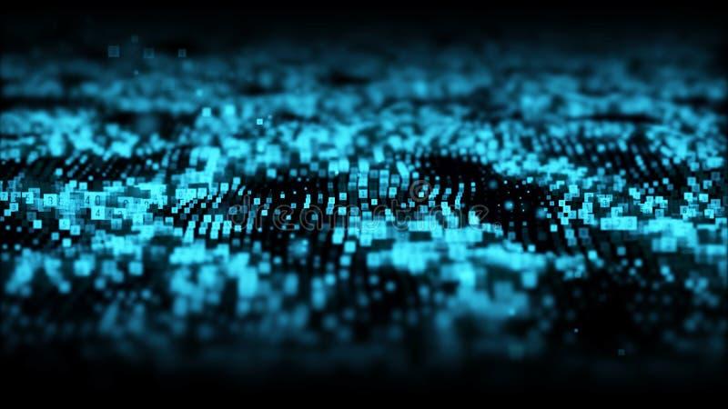 Vinkar digitala partiklar f?r abstrakt bl? f?rg med damm och nummerbakgrund vektor illustrationer