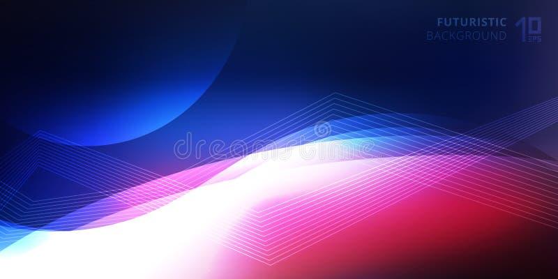 Vinkar glödande ljusa linjer för abstrakt slätt neon futuristisk bakgrundsteknologistil royaltyfri illustrationer