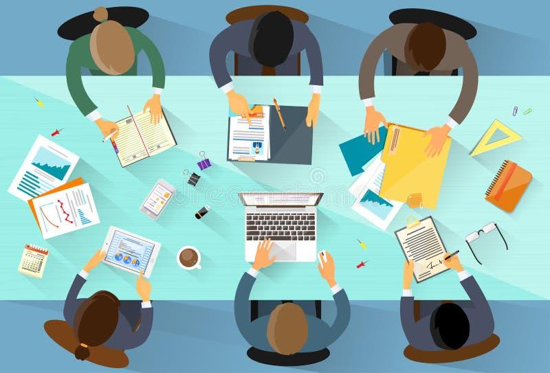 Vinkel för arbetsplats för affärsfolk bästa ovanför sikt stock illustrationer