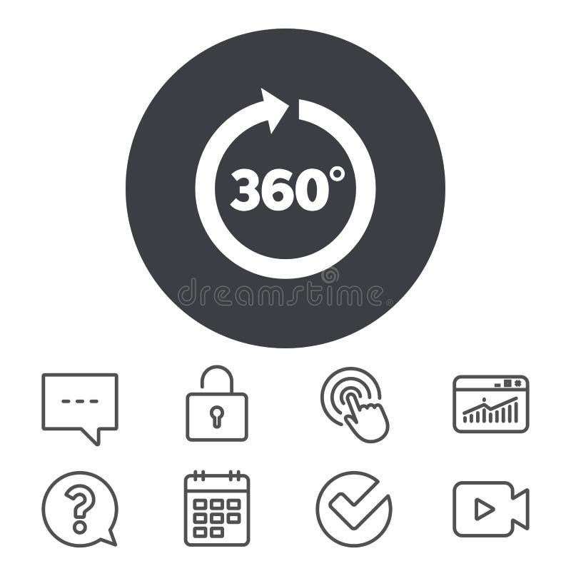Vinkel 360 grader teckensymbol Geometrimatematiksymbol vektor illustrationer