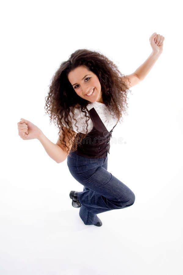 vinkel som dansar den höga siktskvinnan arkivbild