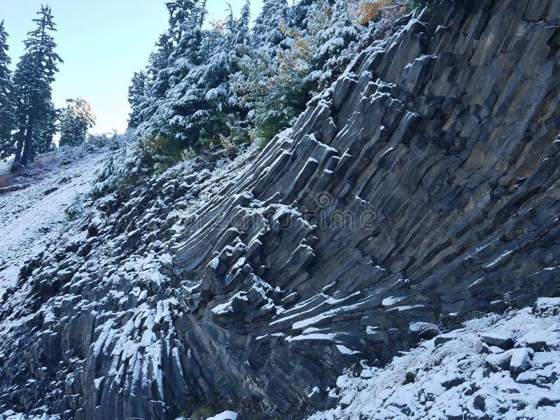 Vinkelbasaltbildande som täckas i snö arkivfoto
